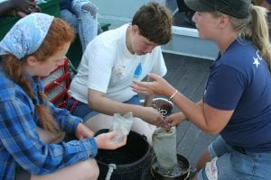 StudentsexaminemicroplasticsfishedouttheHudson(photoby Michele Gluck)