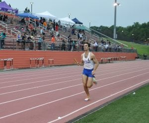 Haldane Senior Theo Henderson competing in the 4 x 800m Relays at the N.Y. State Qualifiers at White Plains High School on June 3. Henderson will compete in the Steeple Chase at the N.Y. State Championships in Syracuse on June 10 (Photo by Peter Farrell)