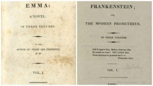 The title pages of the first editions of Emma (1816) and Frankenstein (1818). Both were published over multiple volumes.