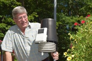 Bob Polastre operates a weather data station at his home in North Highlands. (Photo by M. Turton)