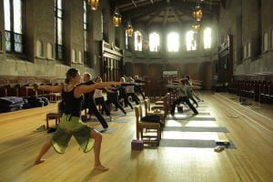 A yoga class inside of the Garrison Institute (photo provided)
