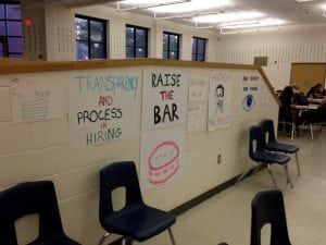 Audience artwork at the Beacon school board meeting. (Photo by J. Simms)