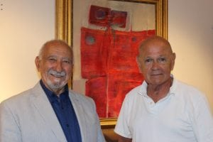Bob Digiovanni and Bob McCaffrey at the opening of Digiovanni's exhibit at McCaffrey Real Estate on July 1. (Photo by A. Rooney)