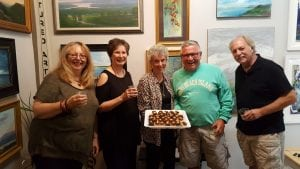 Gallery co-owners Mary Ann Glass, Virginia Donovan, retiring co-owner Linda Hubbard, Beacon Mayor Randy Casale and new co-owner Karl LaLonde (Photo by Rafael Quirindongo)