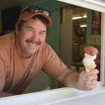 Tommy Allen at the Ice Cream Shack in Nelsonville has what you need on a hot day. (Photo by M. Turton)