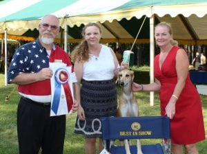 "CountyExecutiveMaryEllenOdell(right)presentedthe""BestinShow""awardin2015toAli,aSalukibreddog,shownwithhandlerLesleyAnnPotts(center)andjudgeGarryNewtown(left)."