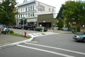 A Photoshopped image showing a crosswalk on Main St.