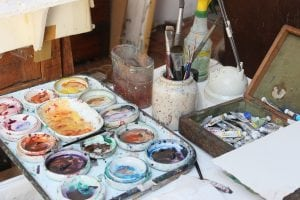 The tools of his trade: Don Nice's paints and brushes.  (Photo by A. Rooney)