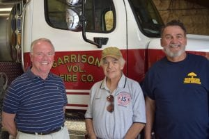 Commissioners Nat Prentice, Joe Mercurio and David Brower at the firehouse. (Photo by M. Turton)