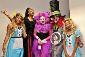 """AliceinWonderland""characters,recreatedinthe2015HairdressersBall.(PhotobyLaurenBeale)"