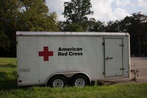 TheAmericanRedCrosstrailer,filledwithsupplies,parkedatPhilipstownRec.(PhotobyA.Peltonen)