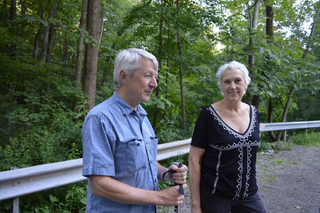 Matti Peltonen of Cold Spring, and Kristin Kucer of Beacon, at bridge over Clove Creek Falls on Horton Road.