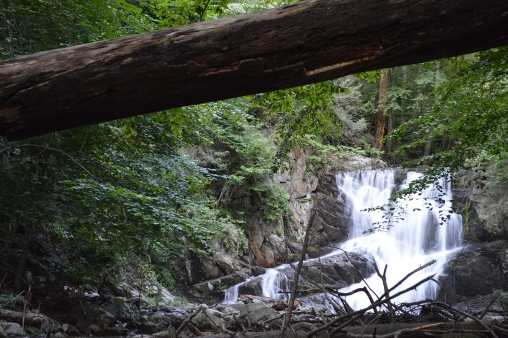 The waters of Indian Brook Falls, between Cold Spring and Garrison, feed into the Hudson River at the Audubon bird conservation area a few hundred feet downriver.