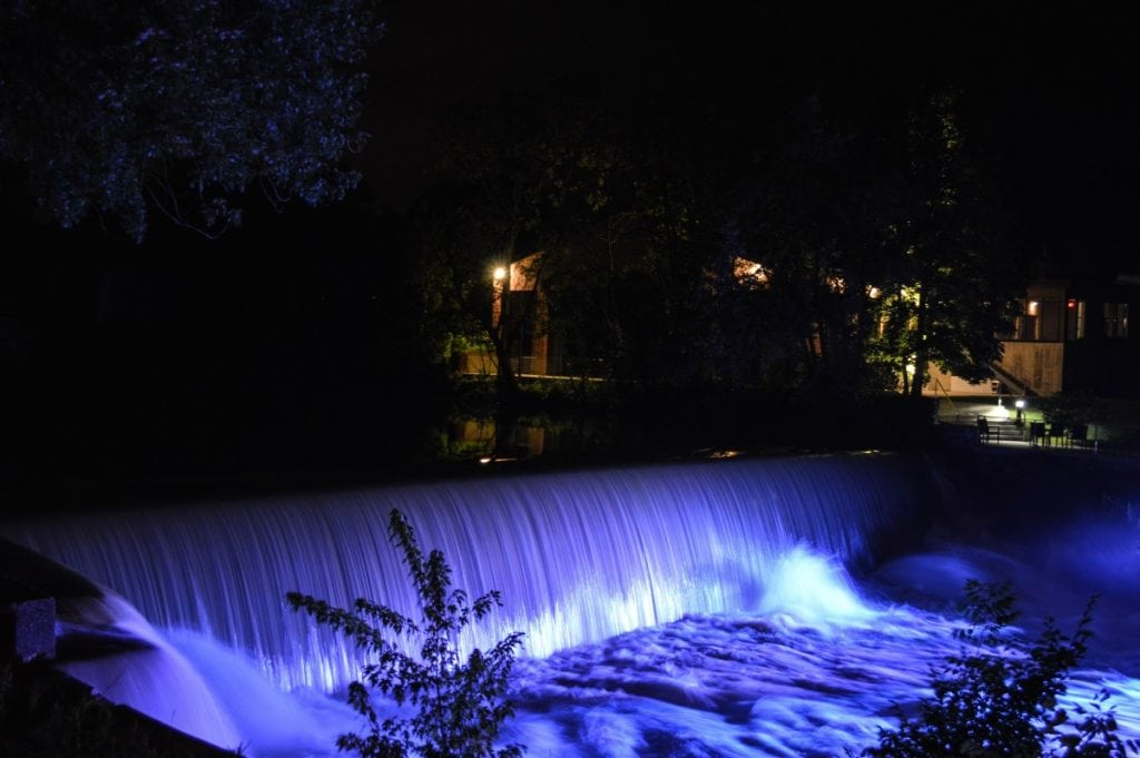 Roundhouse Falls, at night, in City of Beacon.