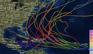 TracksofmajorAtlantichurricanesfrom2006to2014(NOAAgraphic).