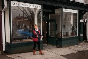 Marina Yashina in front of her Main Street gallery and studio in 2013 (photo by Anne Meadows/Chronogram)