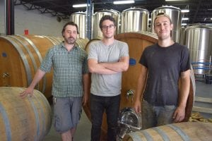 Hudson Valley Brewery's owner John-Anthony Gargiulo, with brewers Jason Synan and Mike Renganeschi (Photo by M. Turton)