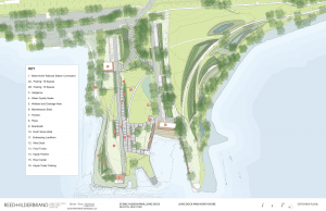 The site plan with Scenic Hudson's proposed changes at Long Dock Park. (Click to enlarge.)