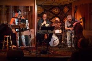ArtBailey,KirkKnuffke,MichaelWimberlyandMichaelBisio,whomakeupAccortet,performataMondaynightjazzsessionatQuinn's(PhotobyMichaelBogdanffy-Kriegh)