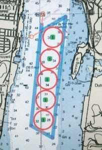 A map of the five barge parking spots proposed between Beacon and Newburgh.