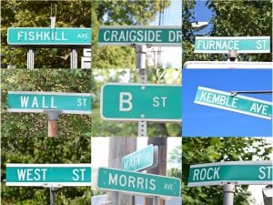 A few of the most well-traveled -- and/or mysterious -- street names in Cold Spring (photos by M. Turton)