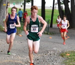 Haldane's Nick Farrell (130) finished second at the Red Raider Run at Bear Mountain State Park on Sept. 9, five seconds behind Blaine Doyle (83) of Cornwall. (Photo by Peter Farrell)
