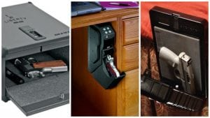While most gun safes are standard lock boxes, there are versions that can be affixed under a desk or to the side of a bed.
