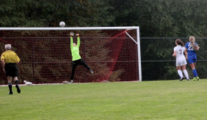 A shot by Alzy Cinquanta of Haldane goes just over the goal against North Salem on Sept. 21. The game ended in overtime in a 0-0 tie. (PhotobyDonnaPidala)