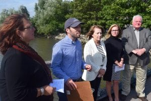 Althea Mullarkey of Scenic Hudson, Jeremy Cherson of Riverkeeper, legislator Barbara Scuccimarra, County Executive MaryEllen Odell and legislator William Gouldman (Photo by M. Turton)