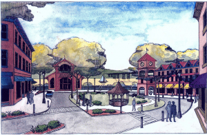 A rendering of a vision for the Beacon train station from the 2007 comprehensive plan
