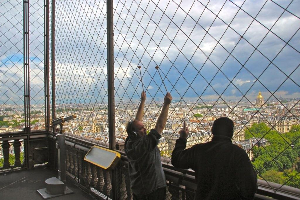 Joseph Bertolozzi, left, and Joe Popp recording at the Eiffel Tower (photo by Franc Palaia)