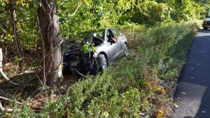 A car drove off Route 9D on Oct. 7 (GVFD photo)