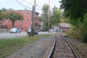 The unused rail line cuts through the heart of Beacon. (Photo by M. Turton)