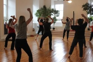 Thriller dancers rehearse on a Sunday morning at Skybaby. (Photo by A. Rooney)