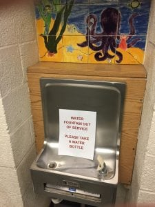 A drinking fountain at Garrison School on Oct. 26.