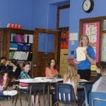 Kristen Spooner with her fifth-grade class at Haldane (Photo by A. Rooney)