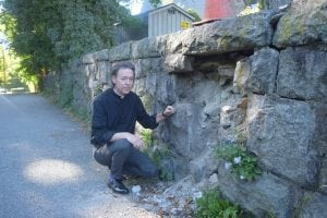 Father Shane Scott-Hamblen of St. Mary's is shown at a spot where the wall has already collapsed. (Photo by M. Turton)