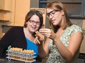 Clarkson University Associate Professor Michelle Crimi, left, studies groundwater samples with student Falisha Gilman. (Photo provided)