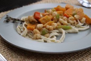 Fresh egg pasta with acorn squash vegetable medley (Photo by M.A. Ebner)