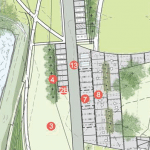 Detail from a site plan for changes proposed by Scenic Hudson at Long Dock Park. No. 13 indicates the proposed location for food trucks, and No. 9 would be a new boardwalk.