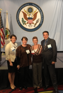 Sniffen, Bowers, McCue and Alm at the D.C. ceremony (Haldane photo)