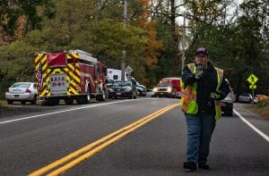 Emergency vehicles at the Little Stony Point trailhead during a rescue on Oct. 26 (Photo by Anita Peltonen)