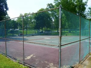 The South Avenue Park tennis courts before resurfacing (file photo by J. Simms)