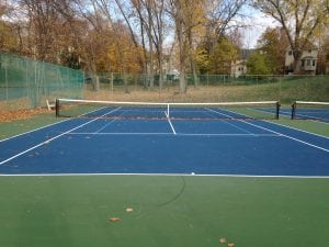 The tennis courts after being resurfaced (photo by J. Simms)