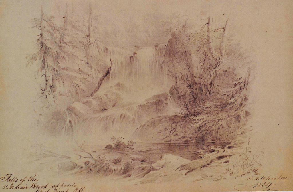An artist sketched Indian Brook Falls in 1834, around the time  author Washington Irving led an evening jaunt there (Image courtesy of the Chapel Restoration Inc.)