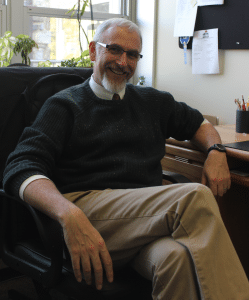 John Griffiths in his office at the Garrison School (Photo by A. Rooney)
