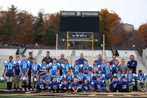 The 5/6 and 3/4 tackle teams and 1/2 flag team are shown at West Point after the Army-Air Force game on Nov. 5. The Hawks  teams took the field post-game for a scrimmage. (Photo by Sheila Williams)
