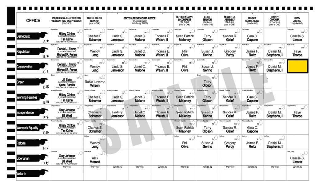 The Conservative Party line on the Nov. 8 ballot, shown in yellow, does not contain the name of a candidate.