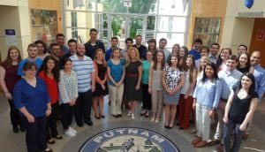 The county's 2016 summer interns with County Executive MaryEllen  Odell (center)