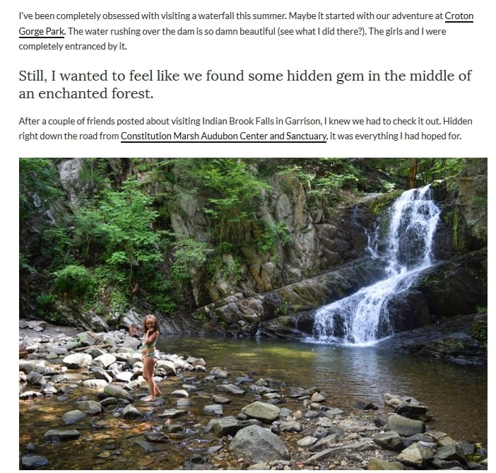 An online post extolling the virtues of Indian Brook Falls
